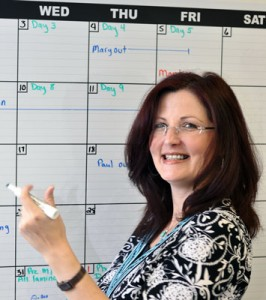 OptiMA Inc Controller, Laura Dupuis uses Dry Erase Calendar Decal