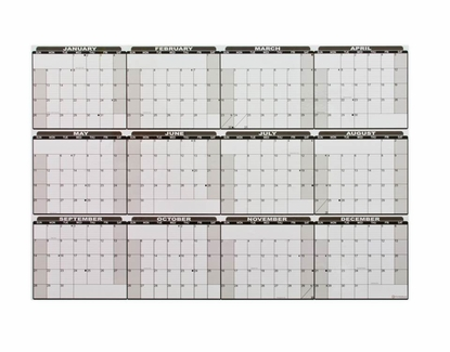 Dry Erase Current Full Year Calendar Decal